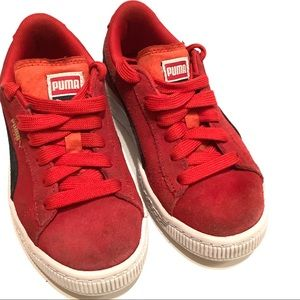 Puma Suede Classic big kid sneakers, red, size 13